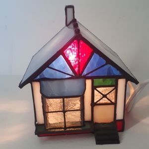 Vintage Stained Glass Lighted Bake House 1995